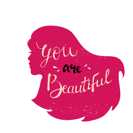 Vector girl head silhouette with text. Inspirational illustration design for print, banner, poster. you feel beautiful. Hand drawn vector illustration. red Vektoros illusztráció