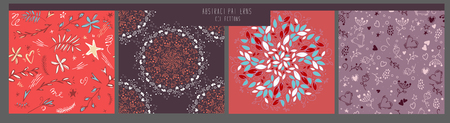 set vintage seamless patterns. Hand drawn. Vector illustration can be used for ceramic tile, wallpaper, textile, invitation, greeting card, web page background.floral patterns. Romantic set. Pink red white. Abstract romantic collection. 일러스트