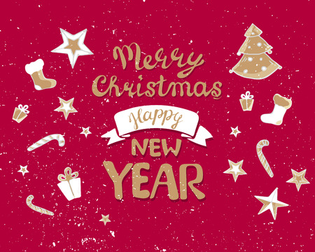 Kerstbelettering voor ansichtkaarten, posters, banners, flyers. handgeschreven slogan op vakantie thema. Kalligrafie belettering. Trouw met Kerstmis, gelukkig nieuwjaar 2019, sjabloonwenskaart, rood goud. cadeau, sokken boom ster.