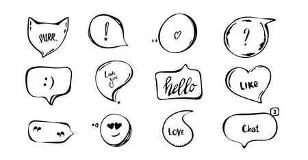 Hand drawn set of speech bubbles with hand written short phrases purr, love you, chat, hello. quotes, question, exclamation mark black, white. vector collection
