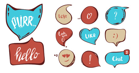 Hand drawn set of speech bubbles with hand written short phrases purr, love you, chat, hello. quotes, question, exclamation mark . red, blue. vector collection