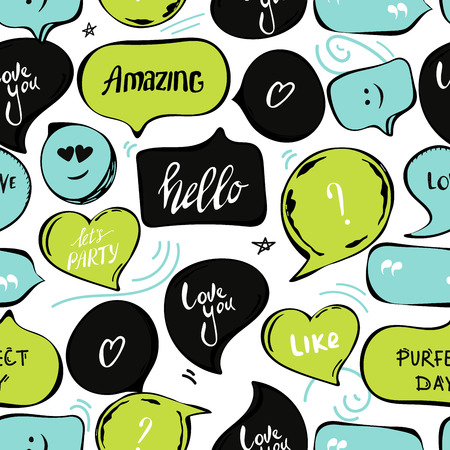 speech bubbles seamless pattern. Vector background of black green blue bubbles with word: hello , amazing, love you, perfect day, quotes, question, exclamation mark . Vector illustration. template for cover fabric, books. fabric. abstract background wallpaper