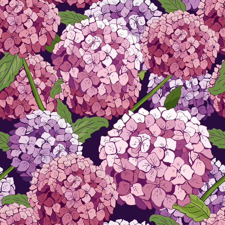 hydrangea Seamless pattern. Vector hand drawn texture with flowers. Botany repeating wallpaper. pink. template cover fabric, books. abstract background wallpaper.