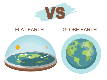 Theory of flat earth. Flat Earth in space with sun and moon vs spherical earth. Vector illustration. isolated on white background Illustration