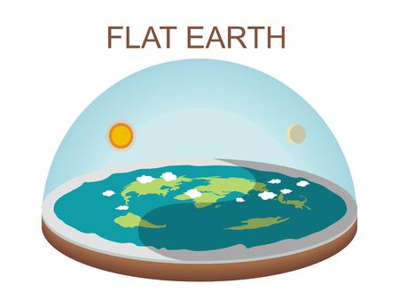 Illustration de concept de terre plate sur fond blanc. Clipart vectoriel isolé. Modèle de cosmologie antique et théorie du complot pseudo-scientifique moderne Vecteurs