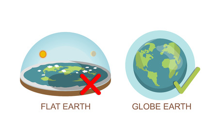 Theory of flat earth. Earth vs spherical earth. Vector illustration. isolated on white background. true, lie Checkbox. check mark. Ilustração