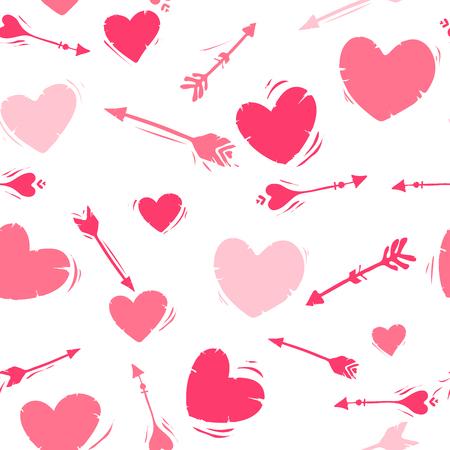Nahtloses Vektormuster mit Herzen, Pfeilen. Valentinstag-Design Valentinstag-Design. Geschenkpapier, Tapete, Druck, Textil. weiß rosa. Gekritzel