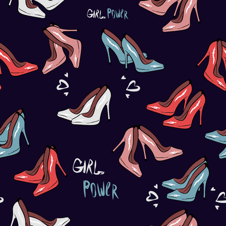High heel shoe seamless pattern. Simple illustration of high heel shoe on dark blue background vector. Fashion design. print fabric textile, wallpaper, wrapping paper. hand drawing, girl power. pink 向量圖像