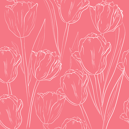 Vector seamless pattern with white tulip flowers on pink background. floral design for wedding, engagement, cosmetics, perfume, beauty products, wrapping paper, textile. sketch, silhouette of flower Illustration