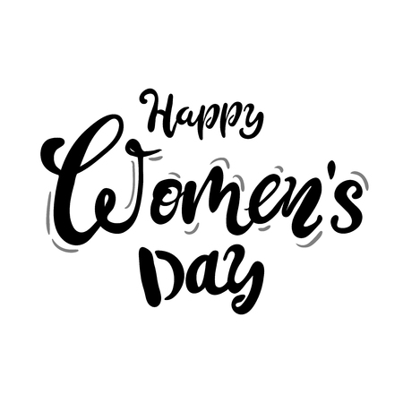 Happy Womans Day text as celebration badge, tag, icon. Text card invitation, template. Festivity background.Vector illustration. Lettering typography poster. black white Vector Illustration