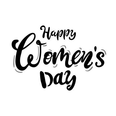 Testo di Happy Womans Day come distintivo di celebrazione, tag, icona. Invito alla carta di testo, modello. Priorità bassa di festa. Illustrazione di vettore. Manifesto di tipografia di lettere. nero bianco Vettoriali