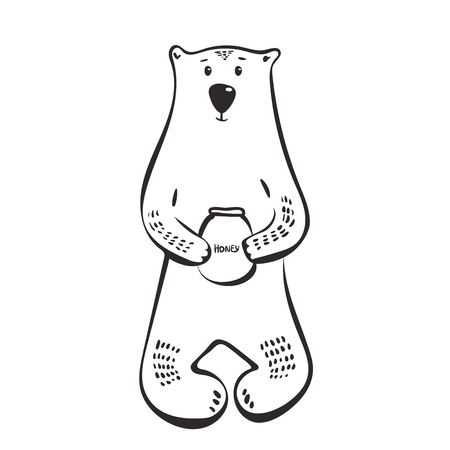 Cute bear with honey. Vector illustration design for t-shirt graphics, fashion prints. sketch, outline, black.