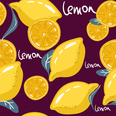 Fresh lemons for fabric, drawing labels, print on t-shirt, wallpaper of childrens room, fruit background.Seamless bright light pattern. Slices of a lemon doodle style cheerful background Stock Illustratie