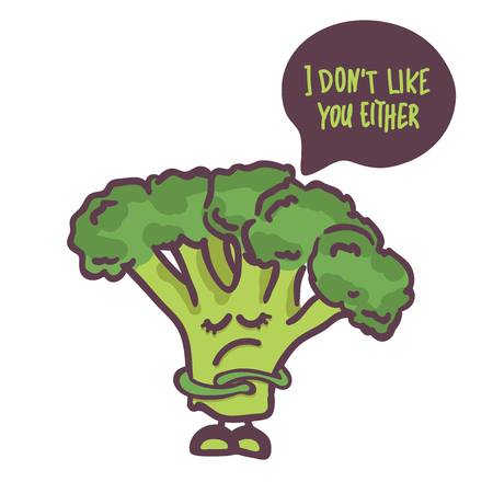 cute Broccoli cartoon character isolated on white background. Speech bubble i dont like you either. Vector. for cafe, logo, book stories, print for T-shirt,notebook cover, posters, postcards