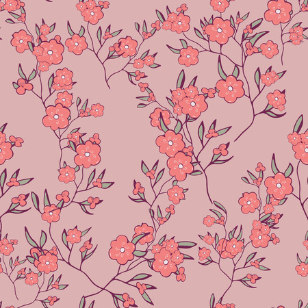 seamless pattern. spring branches, flowers on pink background. Doodle. Hand drawing vector. floral design for textile, wedding, cosmetics, perfume, beauty products,textile wrapping paperwomen day Ilustração