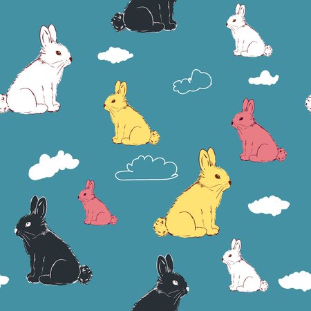 Lovely rabbits. Cute childish seamless pattern in cartoon style. Seamless pattern for wallpapers, textile, print, pattern fills, web page backgrounds, surface textures. Hand drawing.