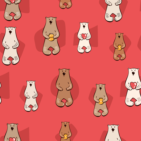 Vector illustration with stylish cartoon seamless pattern. Bear with honey, hearts. red brown white doodle style print design, childish ink background. for Wallpaper, Print, Textile Vector.