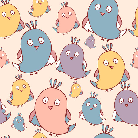 Seamless pattern with doodle Funny birds with. vector template.Hand drawn illustration.Cute cartoon birds.Modern minimal texture for kids textile, fabric, paper Wallpaper, Print,