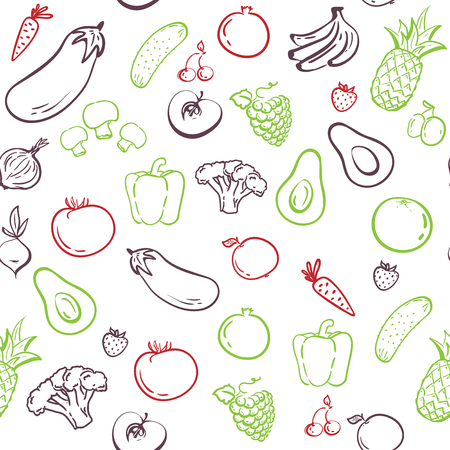vegetables seamless pattern. hand drawing. Healthy food. Vector sketch,silhouette. Health food, fabric wallpaper textile ornament, Print. Market restaurant cafe cuisine tasty sweet. Menu element.