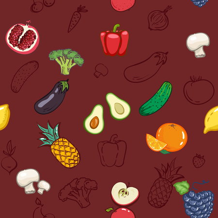 Vegetables fruits seamless pattern background. Colorful template for cooking, restaurant menu vegetarian, Health food, fabric wallpaper textile ornament, Print. Market restaurant cafe cuisine tasty Stock Vector - 124732679
