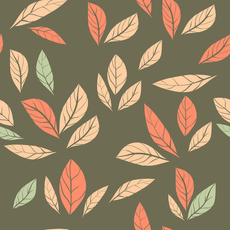 vector seamless abstract pattern with leaves. illustration with doodles and leaves. Trendy design for wallpaper, fabric makers, fashion textile print.Nature illustration. 矢量图像