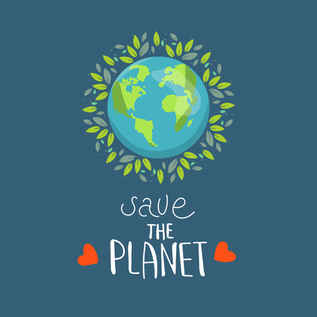 Save our planet earth, ecology eco environmental protection, climate changes, Earth Day April 22, planet with leaves vector emblem with leaves illustration isolated, blue background. logo Banque d'images - 120429345