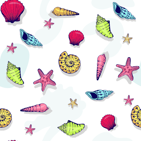 Seamless vector nautical pattern with shells. Vector background. Can be used for wallpaper, surface, banner, pack, web page. Blobs, stain, paints blot. 向量圖像
