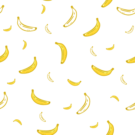 Banana seamless pattern. Wrapping paper, gift card, poster, banner design. Home decor, modern textile print. Vector illustration. hand drawing white background Vettoriali