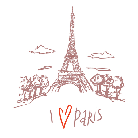 Travel Paris promo flyer. Greeting card. Eiffel tower. hand lettering i love Paris. Postcard with french landmarks,sights. Travel concept postcard design for tourists in Paris, France. doodle scketch. Illusztráció