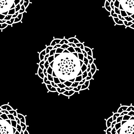 Ethnic Seamless Pattern. Abstract Oriental Mandala Background. for Wallpaper, Textile, Fabric, Paper, website background, book cover, packaging. Mandala doodle Beautiful abstract background, black white