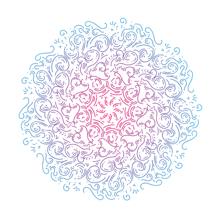 Circular pattern doodle mandala for Henna, Mehndi, tattoo, decoration. decorate dishes, cups, porcelain, ceramics, walls. Decorative ornament in ethnic oriental style. Hand drawn Vector.