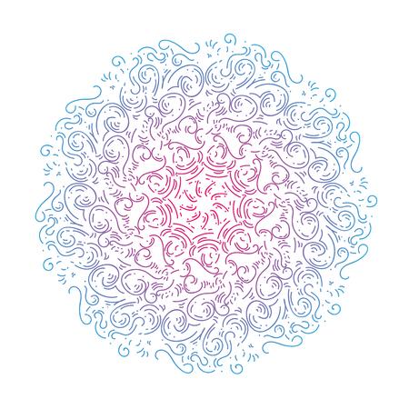 Mandala de griffonnage à motif circulaire pour Henna, Mehndi, tatouage, décoration. décorer des plats, des tasses, de la porcelaine, de la céramique, des murs. Ornement décoratif de style oriental ethnique. Vecteur dessiné à la main.