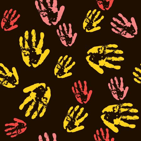 handprint palm seamless black pattern. for fabric, wrapping and textile. Scrapbook pink paper