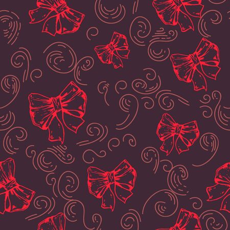 colored ribbons on a black background seamless pattern. red collection. Cotton Fabric for Sewing, Patchwork, Print Design Tissue textile Cloth Fabrics.