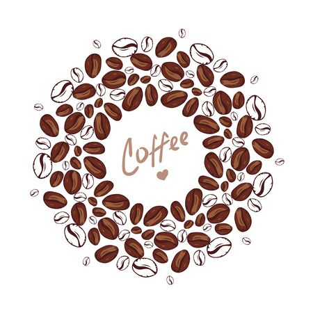 Coffee. Background with drop, coffee beans and place for your text. Menu for restaurant, cafe, bar, coffee shop, tea-house. Brown pattern. Many flying coffee beans. Circle shape vector