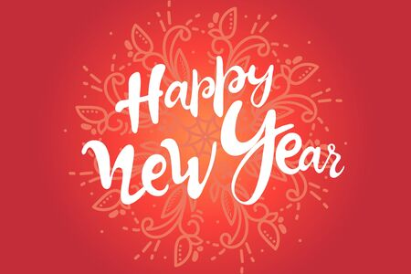 lettering Happy New Year. 2020 postcard with calligraphy text. hand drawing. white background red gray. isolated