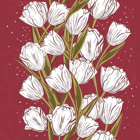 Vector white tulips on the texture background. Stylized drawn flowers backdrop. Seamless pattern for wallpapers, pattern fills, web page backgrounds, surface textures, fabric, carpet, home decor.