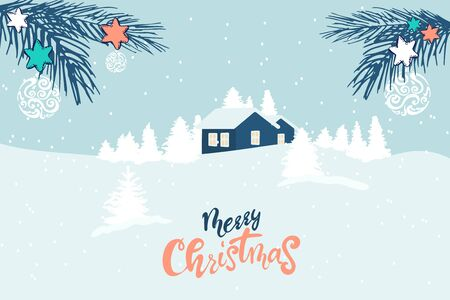 Winter landscape with a christmas tree, houses, sun, text in flat design in vector. Merry Christmas happy new year winter illustration. holiday design for christmas season.