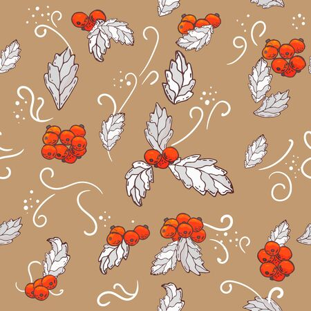 Vector Christmas seamless pattern with branches of mistletoe. For fabric, wrapping paper, print and web projects. Greeting card design. Vector mistletoe. Winter template Illusztráció