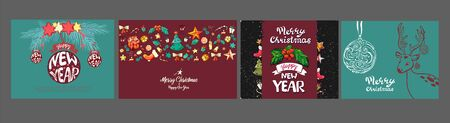 Cute hand drawn doodle Christmas cards, brochures, postcards with christmas, balls, snow snowflake. Christmas holiday background, elements.