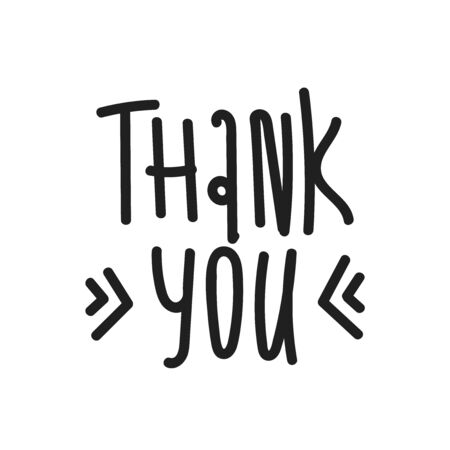 THANK YOU hand lettering . custom handmade calligraphy, vector. black text on white background