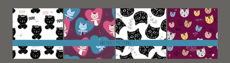 Seamless kids colorful kittens, cats postcard cover design and background pattern set with violet kitten hearts, black cats in vector. for valentine day, fabric design, textile print, wrapping paper