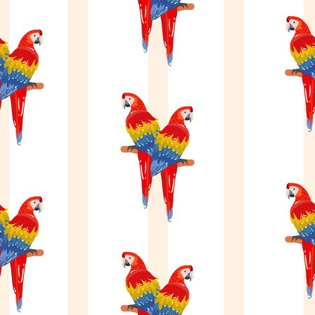 Seamless pattern with palm trees leaves and Blue Yellow and Red Blue Macaw parrots. Ready to use as swatch.