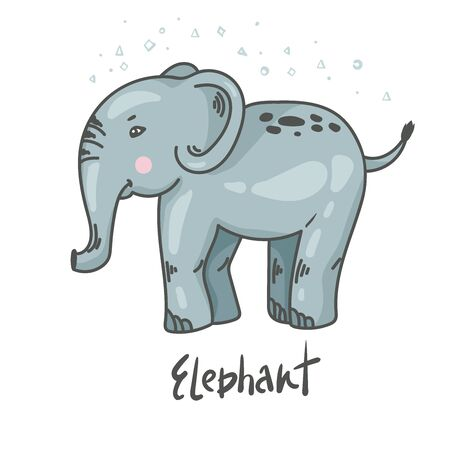 Cute elephant illustration. Funny animal characters. kids, children vector illustration.