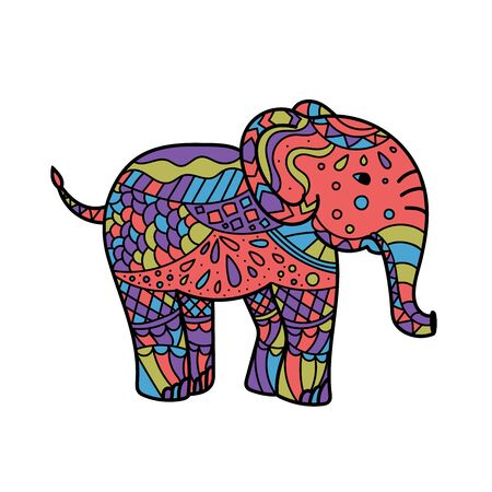 colorful elephant . Hand drawn elephant coloring page. Coloring book page for adults, joy to order children and adult colorist. Black and white background Vector