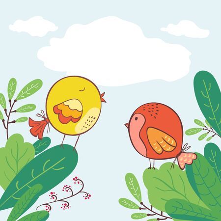 Doodle Early bird special trendy design with bird in leaves greeting card template. funny character. Vector illustration. Communication. two little birds communicating with each other