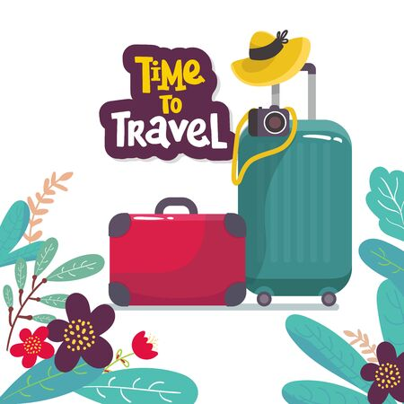travel suitcases and hat camera isolated, Vector Illustration. with flower. for banner, web pages , flyer. Hand draving.