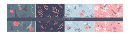 Set of Spring Blossom Flowers Background. Seamless Floral Patterns - in vector, lilies, bike, eiffel tower, paris, rose ,flowers. Hand drawing