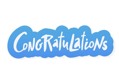 Congratulations sticker bue lettering. Vector greeting card poster. Original handwritten calligraphy lettering , wold, on white background.