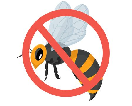 Wasp Bee Hornet vector illustration - set of household pests in cartoon style